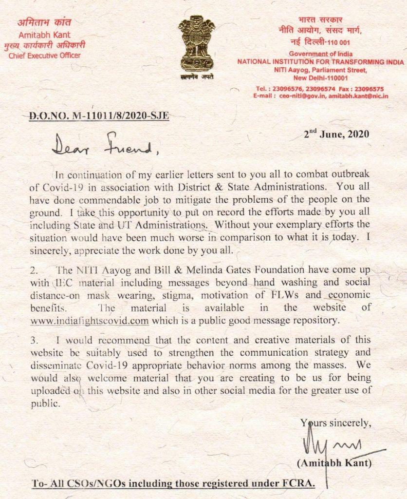 Niti Ayog letter to NGOs about Corona